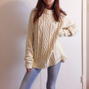 Vintage white heavy knit sweater.